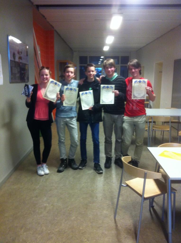 Vinnarna Johan Tengholm, Johannes Aronsson, Kristoffer Ley, Karin Pontoppidan och Gustav Linnarsson